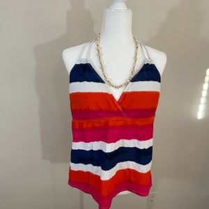Chaps sz 18 tankini top red, blue and white